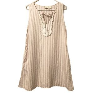 ST. TROPEZ WEST EMBROIDERED STRIPED LINEN DRESS